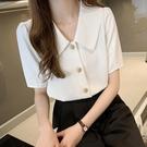 雪紡上衣 法式短袖襯衫女V領薄款上衣氣質職業白色雪紡襯衣OL-Ballet朵朵