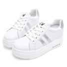 PLAYBOY 閃耀絢彩 輕量厚底小白鞋-白銀(Y7305)