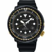 SEIKO精工 PROSPEX SCUBA 太陽能200米潛水錶-金圈x黑/46.7mm V157-0CX0X(SNE498P1)