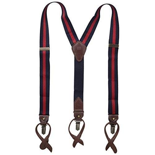 Tommy Hilfiger 男彈性深藍色/紅色吊帶褲夾