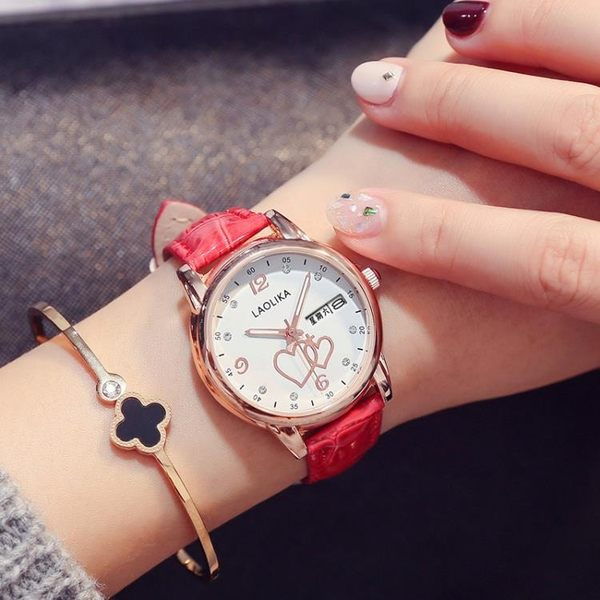 流行手錶女網紅雙日歷星期皮帶手錶女學生時尚腕表女款防水女表愛心手錶名創家居館