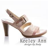 ★2018春夏★Keeley Ann都會美感~撞色拼接金屬飾釦真皮高跟涼鞋(粉紅色) -Ann系列