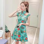 VK精品服飾 中國風文藝復古風改良旗袍植物印花無袖洋裝