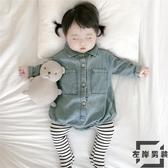 嬰兒柔軟牛仔連身衣秋裝男女寶寶時尚長袖包屁爬服【左岸男裝】