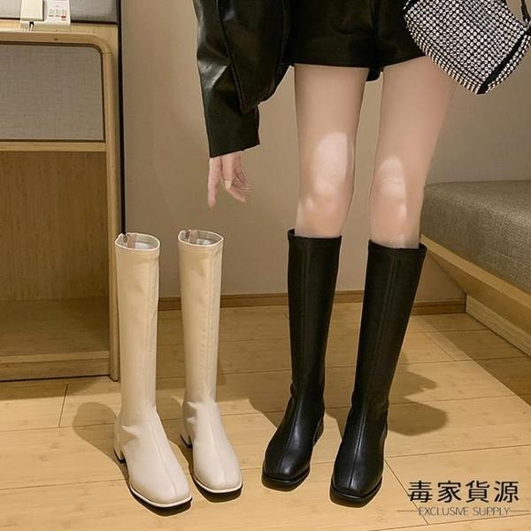 小個子長靴女不過膝高筒騎士靴單靴粗跟皮靴大碼長筒靴子【毒家貨源】