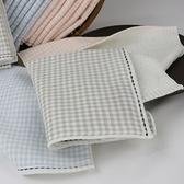 和風紗布格紋小手巾 灰 24x24cm