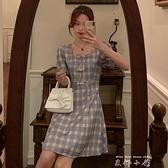 夏季2021新款洋裝韓版法式復古收腰方領格子洋裝女甜美初戀裙潮 雙十同慶 限時下殺