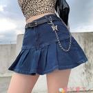 超短裙2021夏季新款半身裙女夏超短裙荷葉邊a字辣妹高腰帶內襯復古牛仔 愛丫