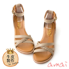 amaiMIT台灣製造。繫帶交錯編織涼鞋...