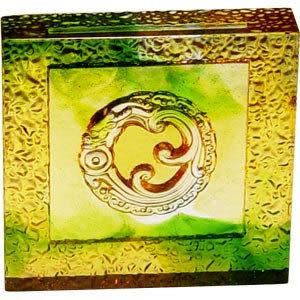 鹿港窯~居家開運琉璃磚【螭龍含珠(陰雕)】附古法製作珍藏保證卡◆免運費送到家