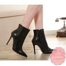 高跟短靴 側邊拉鍊蛇紋尖頭 騎士靴 中靴 踝靴*KWOOMI-A103