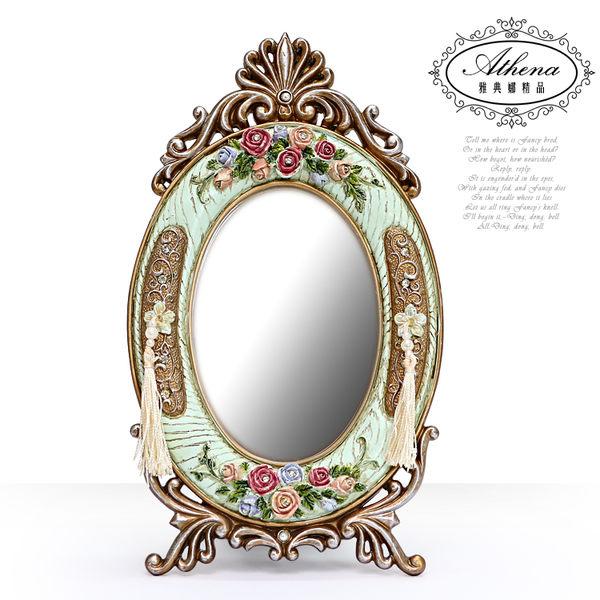 【雅典娜家飾】復古浮雕玫瑰流蘇仿木紋鏡框-GG21