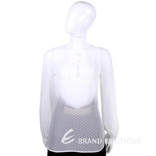 CLASS roberto cavalli 白色點點簍空蕾絲長袖上衣 1440578-20