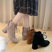 短靴女年秋冬季百搭英倫風粗跟高跟街拍馬丁瘦瘦春秋單靴快速出貨