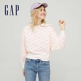 Gap女裝 碳素軟磨系列法式圈織 Logo連帽休閒上衣 978944-白色