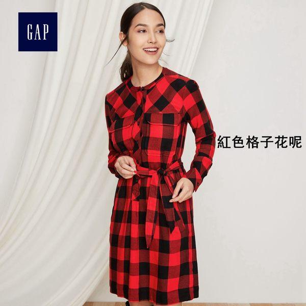 時尚格紋長袖洋裝