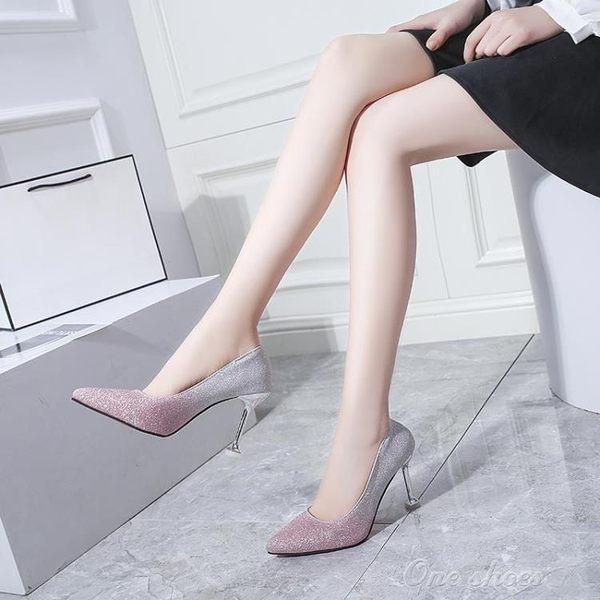 2019新款新娘鞋水晶鞋婚鞋少女銀色高跟鞋細跟宴會百搭配禮服伴娘one shoes