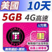 U方案 10天 無限美國 境內通話+簡訊 支援分享功能 前面5GB支援4G高速 加贈無限撥打台灣市話