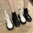馬丁靴 中筒靴 厚底馬丁靴女春秋單靴2021年新款英倫風ins潮圓頭系帶白色短靴子