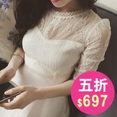 洋裝 韓版 伴娘 白色 蕾絲 長袖 連身裙 小禮服 宴會 花漾小姐【現貨】