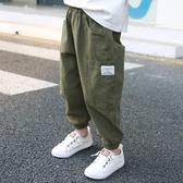 薄款夏季棉麻寬鬆工裝褲男孩褲男童長褲【聚可愛】