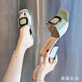 涼拖鞋女外穿2020新款夏季時尚粗跟百搭高跟鞋女士一字拖氣質中跟 KP2299急速出貨『美鞋公社』
