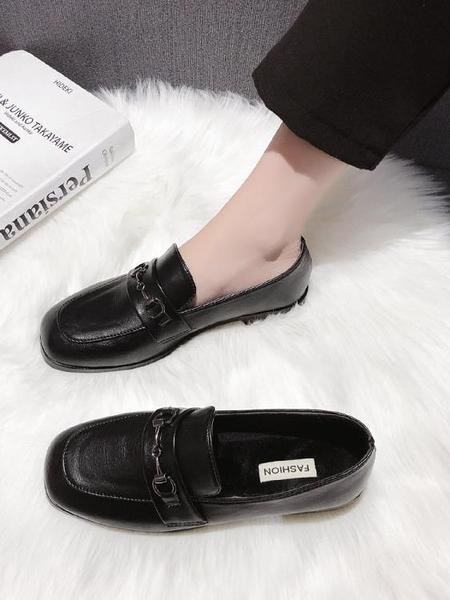 牛津鞋 小皮鞋女英倫風2021秋冬新款加絨久站不累腳軟底黑色日系工作單鞋 歐歐