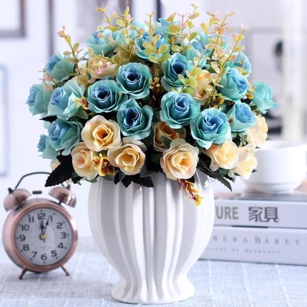 仿真玫瑰花束假花絹花干花藝塑料客廳擺設餐桌室內擺件裝飾花盆栽