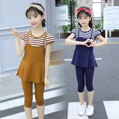 女童套裝 新款女童套裝韓版夏裝小女孩洋氣童裝中大童夏款LJ8527『黑色妹妹』