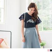 《AB6927》高含棉英文印圖拼接甜美碎花袖上衣 OrangeBear
