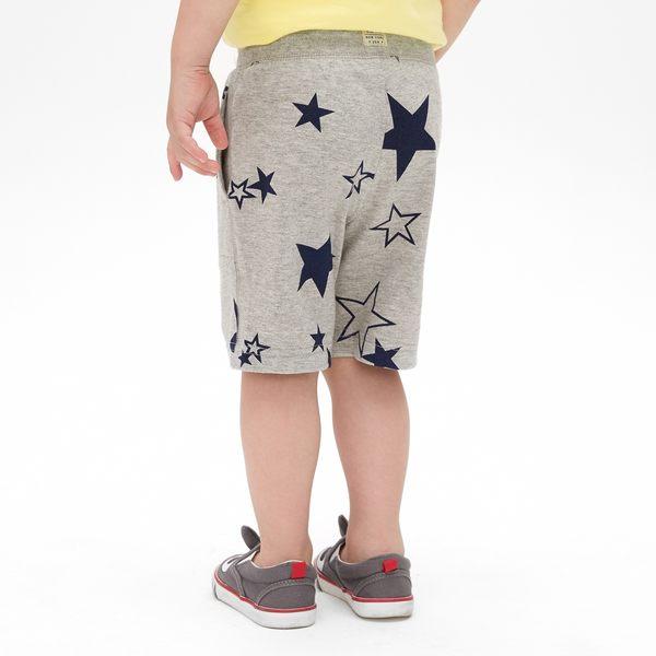Gap男嬰幼童 印花鬆緊腰彈力針織短褲 419137-淺石楠灰