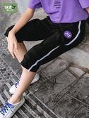 女童七分褲夏薄款中大兒童12-15歲洋氣時尚休閒運動七八分馬褲子