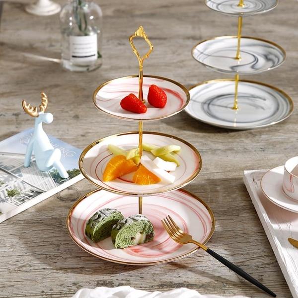 歐式金邊大理石紋陶瓷三層水果盤蛋糕架創意婚慶生日糖果點心托盤 - 古梵希