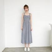 吊帶洋裝-條紋復古休閒露背連身裙2色73xk14【時尚巴黎】
