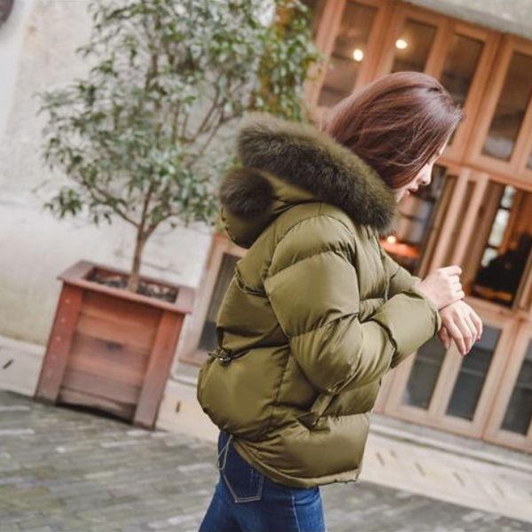梨卡 - 韓國空運短款耳朵造型毛領大口袋保暖加厚鋪棉外套A387