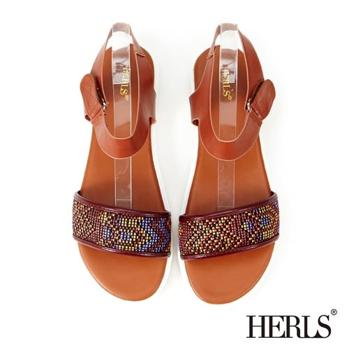HERLS 涼鞋 民族風 一字平底女鞋-棕色