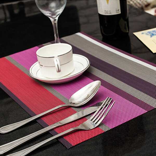 Qmishop PVC防水隔熱餐墊桌墊杯墊條紋餐具墊【J2140】