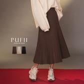 現貨◆PUFII-裙子 鬆緊百摺針織中長裙-1226 冬【CP17843】