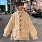【V3184】shiny藍格子-暖暖冬意.保暖寬鬆羊羔毛長袖外套