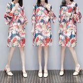 胖MM孕婦洋裝休閒沙灘裙XL-5XL中大尺碼25700/韓版印花雪紡連身裙中長款顯瘦碎花裙子兩件套圖色
