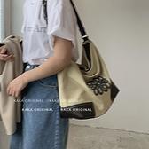 帆布包 休閒帆布包包女2021新款潮時尚腋下包法版小眾百搭大容量水桶包