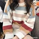 毛衣女 時尚韓版寬松圓領套頭學生慵懶風針織內搭毛衣女外穿【快速出貨】