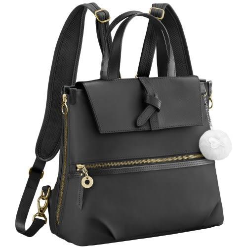 Kanana卡娜娜 多功能尼龍拼接皮革小型手提後背兩用包(黑色)241019-01