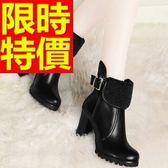 真皮短靴-好搭迷人可愛高跟女靴子2色62d27【巴黎精品】