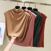 無袖高領打底衫女春夏新款莫代爾大碼T恤修身內搭薄款半高領背心 降價兩天