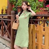 旗袍 連衣裙 2020新款 夏季 學生 新款復古格子 改良旗袍 盤扣裙子 女裝 中長款