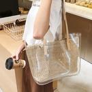 高級感大包包女新款潮韓版洋氣手工側背包透明編織大容量女包 黛尼時尚精品