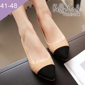 大尺碼女鞋-凱莉密碼-時尚名媛款絨面撞色尖頭低跟鞋高跟鞋5cm(41-48)【XL86-1】杏色