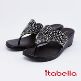 itabella.典雅水鑽造型人字拖鞋(0323-95黑色)