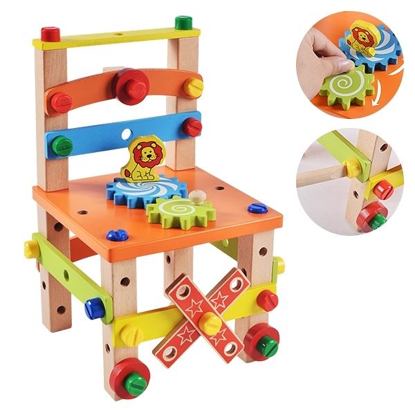 益智玩具 百變螺絲拆裝椅 兒童玩具鎖螺絲玩具 積木-JoyBaby